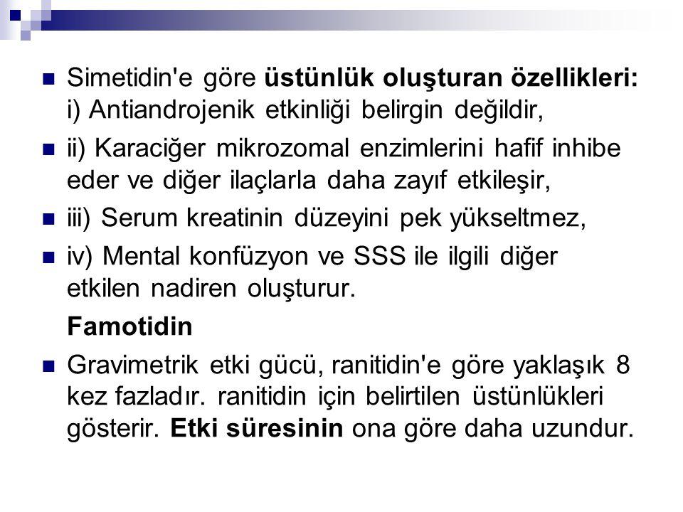 Simetidin'e göre üstünlük oluşturan özellikleri: i) Antiandrojenik etkinliği belirgin değildir, ii) Karaciğer mikrozomal enzimlerini hafif inhibe eder