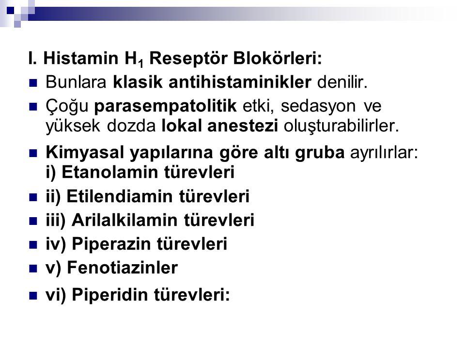 I. Histamin H 1 Reseptör Blokörleri: Bunlara klasik antihistaminikler denilir. Çoğu parasempatolitik etki, sedasyon ve yüksek dozda lokal anestezi olu