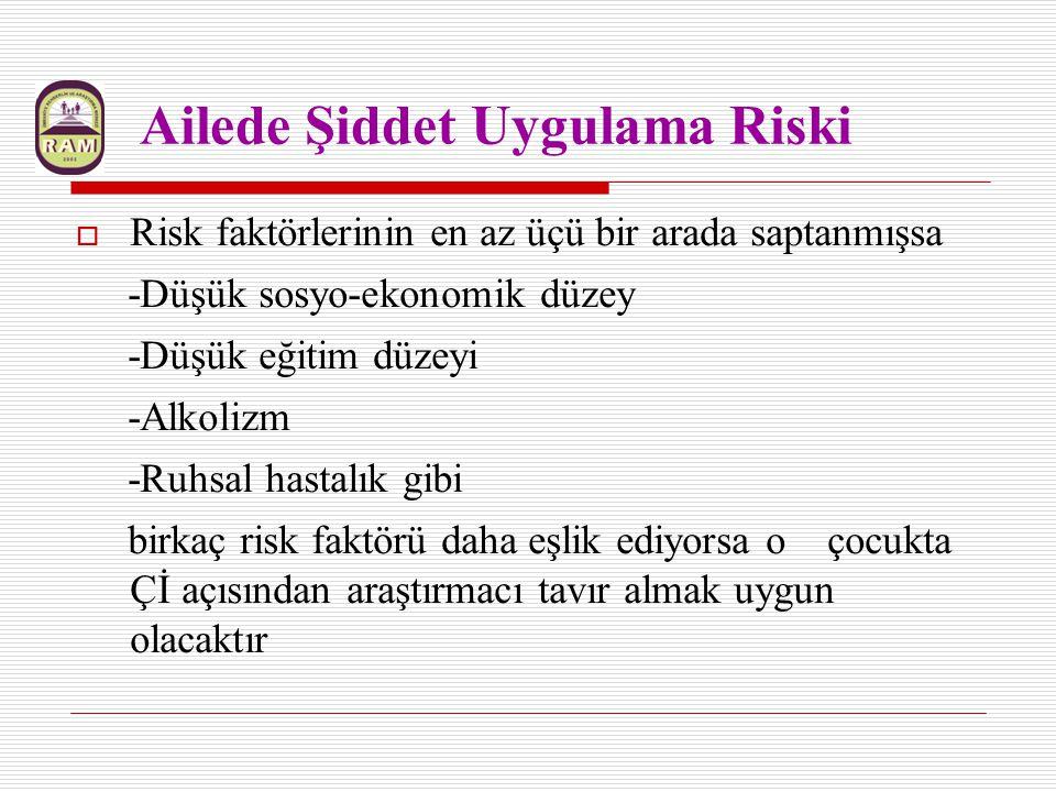 Ailede Şiddet Uygulama Riski  Risk faktörlerinin en az üçü bir arada saptanmışsa -Düşük sosyo-ekonomik düzey -Düşük eğitim düzeyi -Alkolizm -Ruhsal h