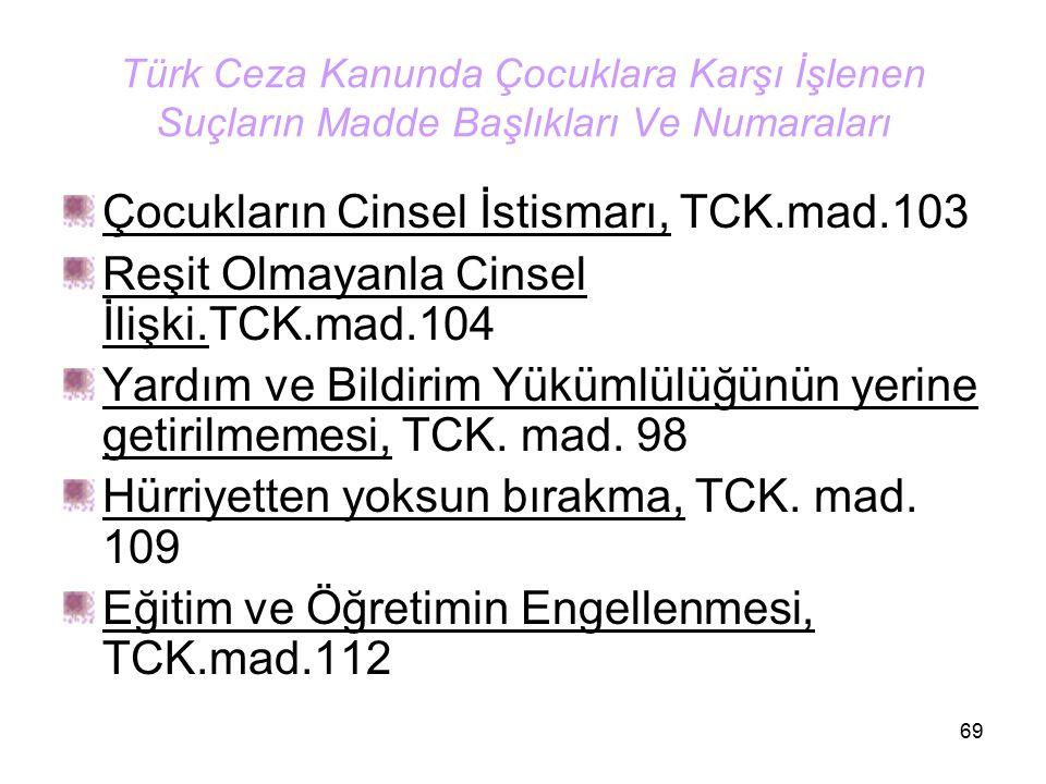 69 Türk Ceza Kanunda Çocuklara Karşı İşlenen Suçların Madde Başlıkları Ve Numaraları Çocukların Cinsel İstismarı, TCK.mad.103 Reşit Olmayanla Cinsel İ