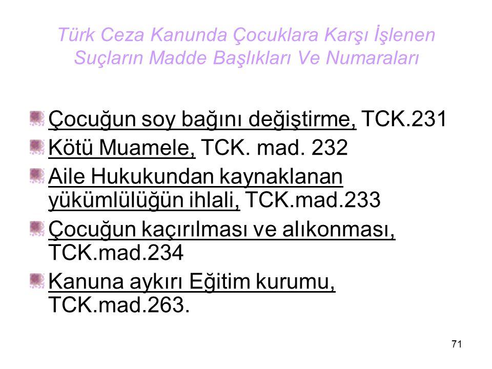 71 Türk Ceza Kanunda Çocuklara Karşı İşlenen Suçların Madde Başlıkları Ve Numaraları Çocuğun soy bağını değiştirme, TCK.231 Kötü Muamele, TCK. mad. 23