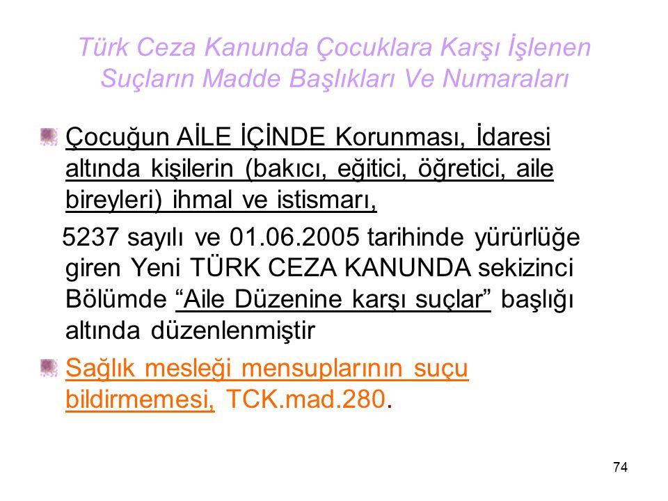 74 Türk Ceza Kanunda Çocuklara Karşı İşlenen Suçların Madde Başlıkları Ve Numaraları Çocuğun AİLE İÇİNDE Korunması, İdaresi altında kişilerin (bakıcı,