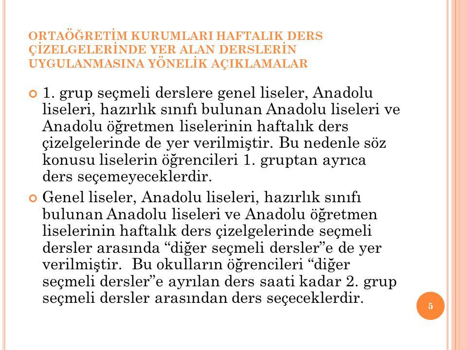 ORTAÖĞRETİM KURUMLARI HAFTALIK DERS ÇİZELGELERİNDE YER ALAN DERSLERİN UYGULANMASINA YÖNELİK AÇIKLAMALAR 1. grup seçmeli derslere genel liseler, Anadol