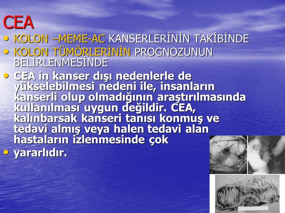 CEA KOLON –MEME-AC KANSERLERİNİN TAKİBİNDE KOLON –MEME-AC KANSERLERİNİN TAKİBİNDE KOLON TÜMÖRLERİNİN PROGNOZUNUN BELİRLENMESİNDE KOLON TÜMÖRLERİNİN PR