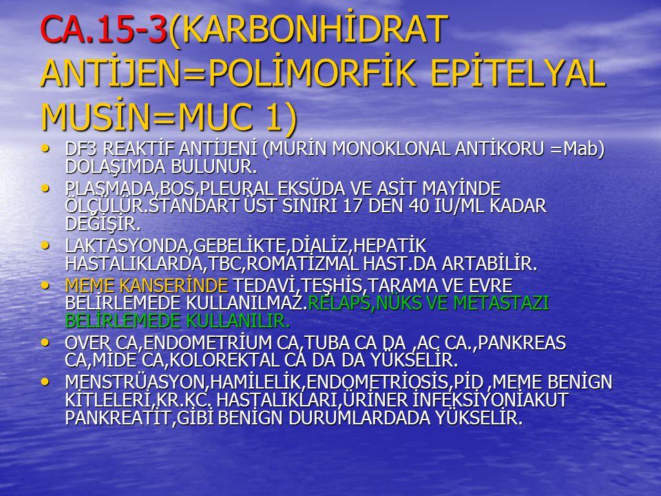 CA.15-3(KARBONHİDRAT ANTİJEN=POLİMORFİK EPİTELYAL MUSİN=MUC 1) DF3 REAKTİF ANTİJENİ (MURİN MONOKLONAL ANTİKORU =Mab) DOLAŞIMDA BULUNUR. DF3 REAKTİF AN