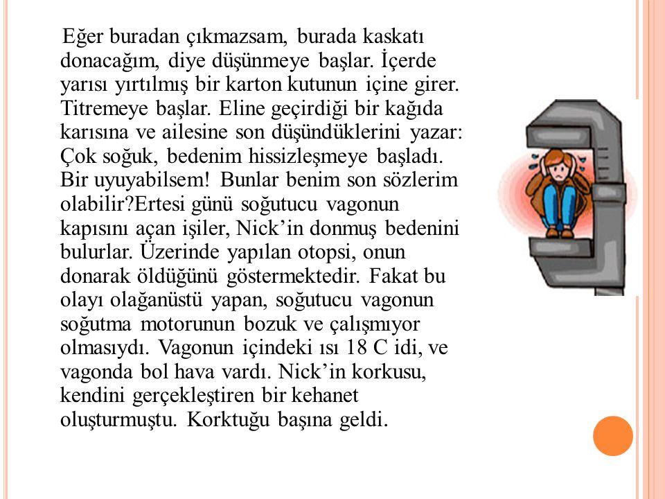 KENDİNİ GERÇEKLEŞTİREN KEHANET Nick güçlü, sağlıklı bir işçi. Arkadaşlarıyla ilişkisi iyi ve işini iyi yapan güvenilir bir insan. Ne var ki, kötümser
