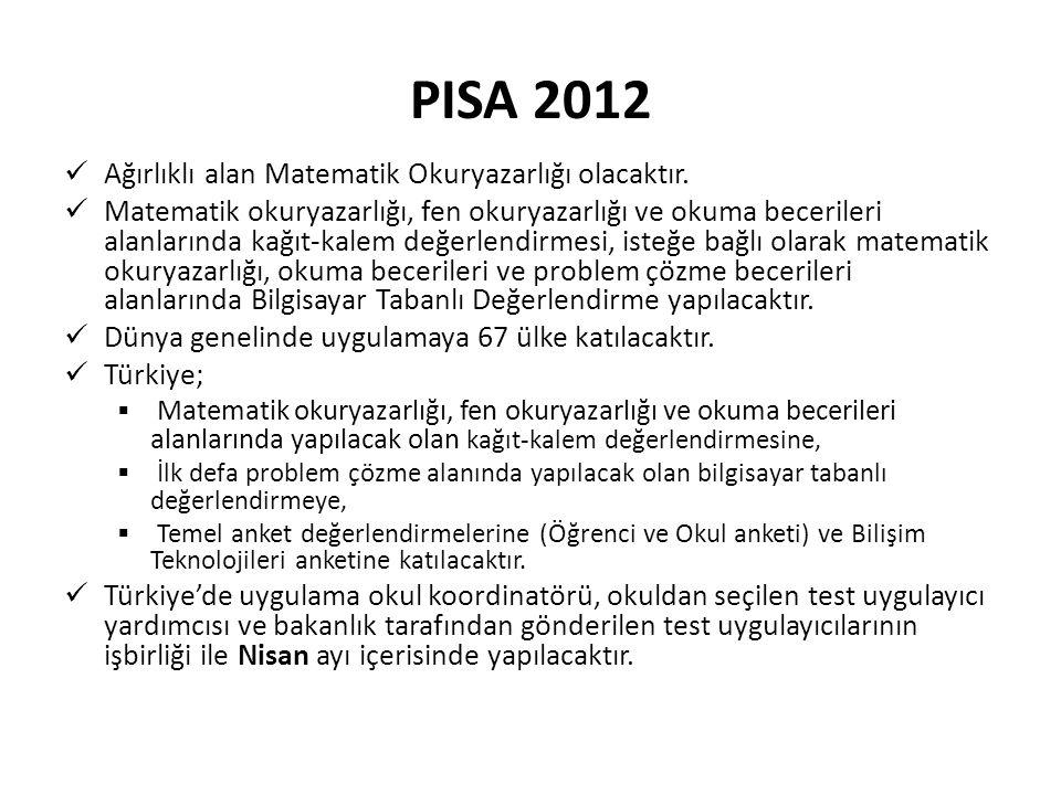 PISA 2012 Ağırlıklı alan Matematik Okuryazarlığı olacaktır. Matematik okuryazarlığı, fen okuryazarlığı ve okuma becerileri alanlarında kağıt-kalem değ