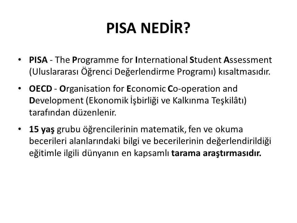 PISA NEDİR? PISA - The Programme for International Student Assessment (Uluslararası Öğrenci Değerlendirme Programı) kısaltmasıdır. OECD - Organisation