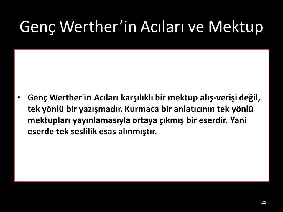 Genç Werther'in Acıları ve Mektup Genç Werther'in Acıları karşılıklı bir mektup alış-verişi değil, tek yönlü bir yazışmadır. Kurmaca bir anlatıcının t