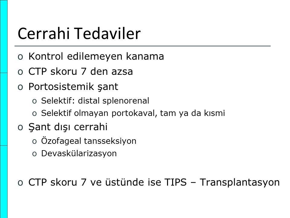 Cerrahi Tedaviler oKontrol edilemeyen kanama oCTP skoru 7 den azsa oPortosistemik şant oSelektif: distal splenorenal oSelektif olmayan portokaval, tam