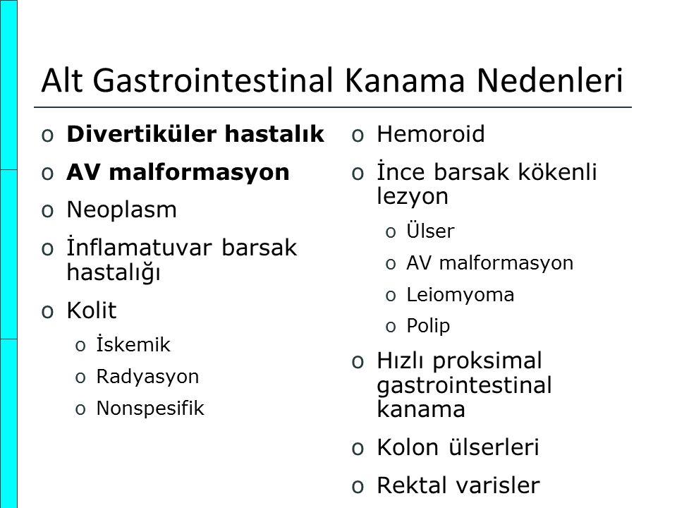 Alt Gastrointestinal Kanama Nedenleri oDivertiküler hastalık oAV malformasyon oNeoplasm oİnflamatuvar barsak hastalığı oKolit oİskemik oRadyasyon oNon