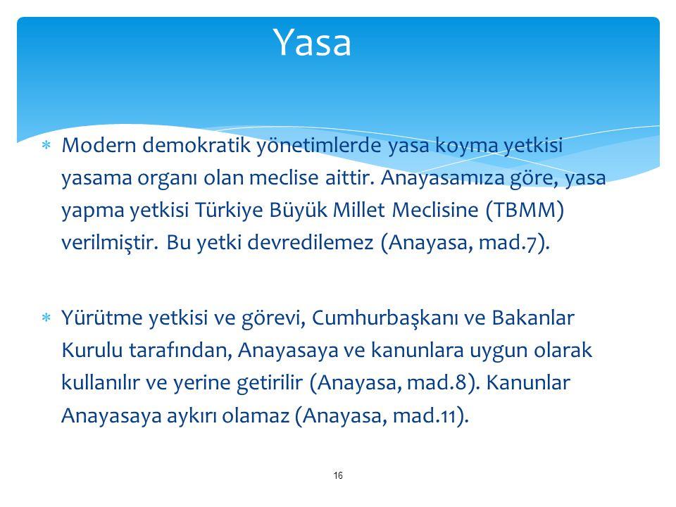  Modern demokratik yönetimlerde yasa koyma yetkisi yasama organı olan meclise aittir. Anayasamıza göre, yasa yapma yetkisi Türkiye Büyük Millet Mecli