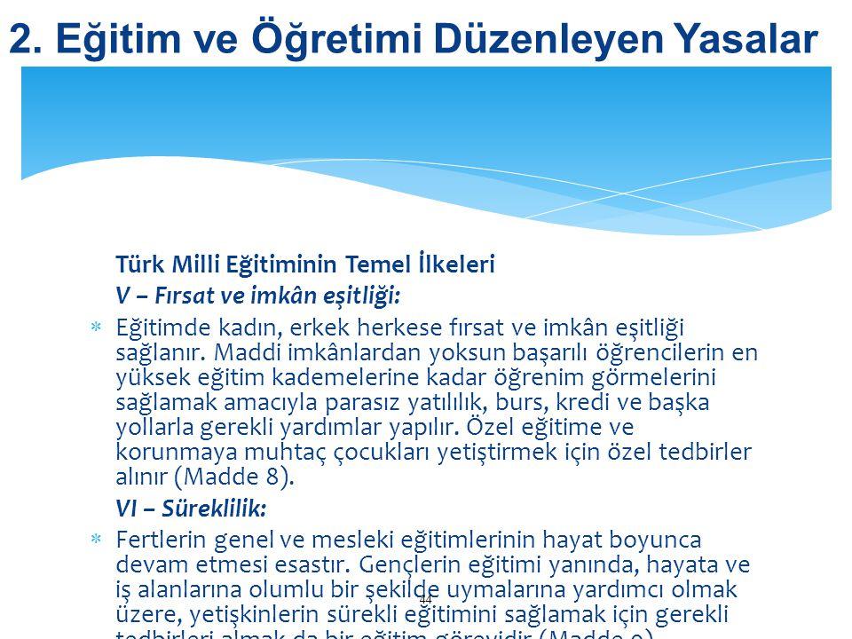 Türk Milli Eğitiminin Temel İlkeleri V – Fırsat ve imkân eşitliği:  Eğitimde kadın, erkek herkese fırsat ve imkân eşitliği sağlanır. Maddi imkânlarda