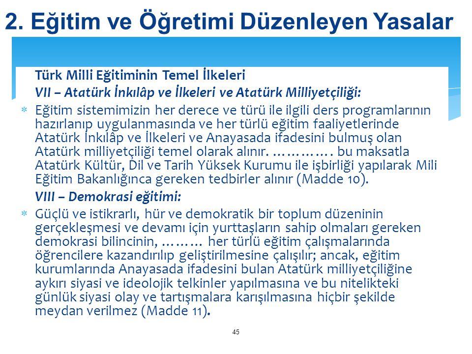 Türk Milli Eğitiminin Temel İlkeleri VII – Atatürk İnkılâp ve İlkeleri ve Atatürk Milliyetçiliği:  Eğitim sistemimizin her derece ve türü ile ilgili