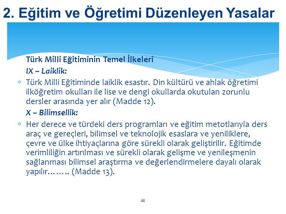 Türk Milli Eğitiminin Temel İlkeleri IX – Laiklik:  Türk Milli Eğitiminde laiklik esastır. Din kültürü ve ahlak öğretimi ilköğretim okulları ile lise