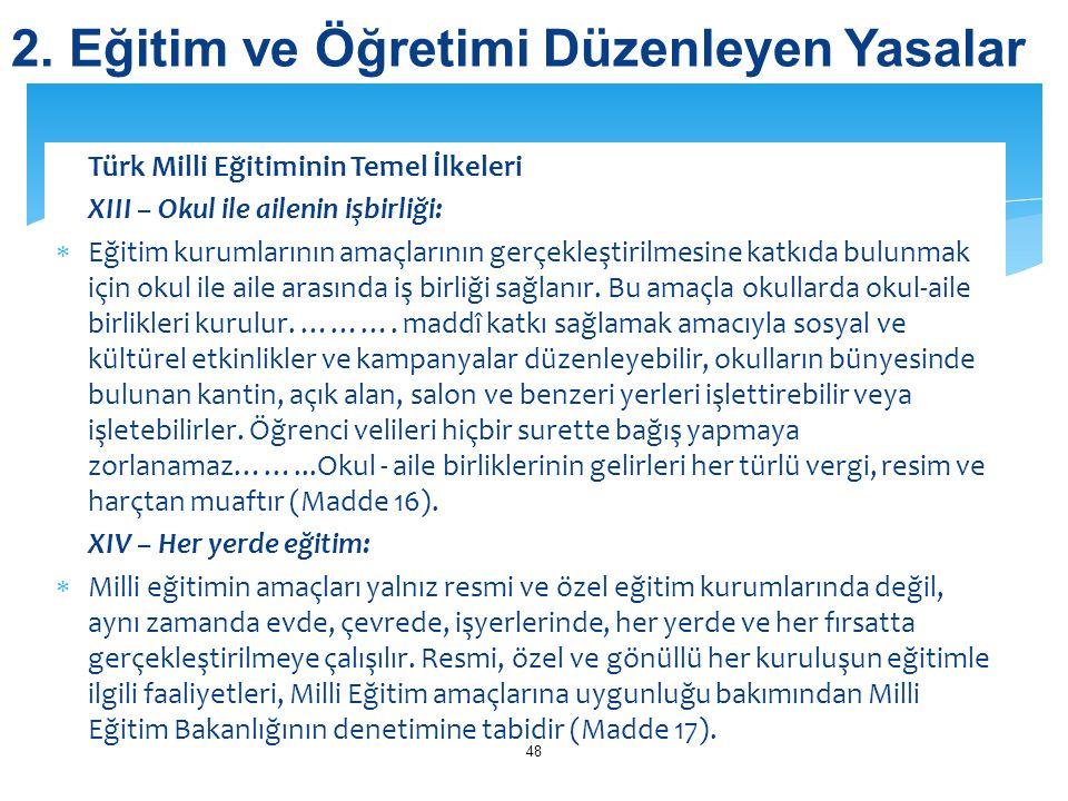 Türk Milli Eğitiminin Temel İlkeleri XIII – Okul ile ailenin işbirliği:  Eğitim kurumlarının amaçlarının gerçekleştirilmesine katkıda bulunmak için o