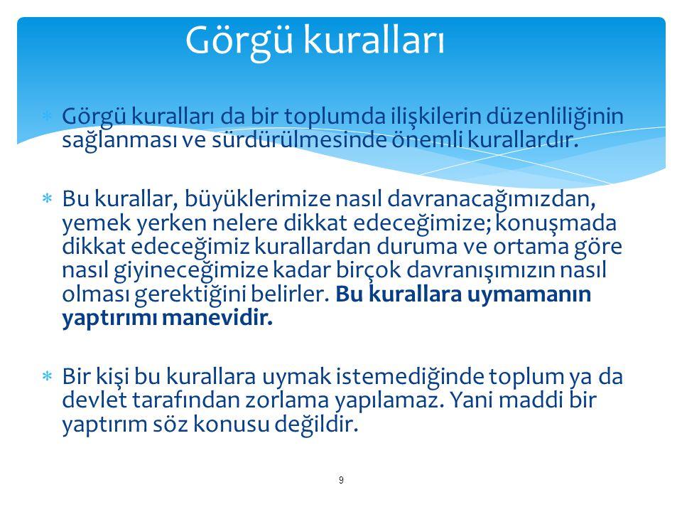 Milli Eğitim Temel Kanunu 1.Atatürk ilke ve devrimlerine Anayasa'da ifade edilen Atatürk milliyetçiliğine bağlı; Türk milletinin milli, insani, manevi ve kültürel değerlerini benimseyen, koruyan ve geliştiren; ailesini, vatanını, milletini seven ve daima yüceltmeye çalışan; insan haklarına ve Anayasa'nın başlangıcındaki temel ilkelere dayanan demokratik, laik ve sosyal bir hukuk devleti olan Türkiye Cumhuriyeti'ne karşı görev ve sorumluluklarını bilen ve bunları davranış haline getirmiş yurttaşlar olarak yetiştirmek; 2.Beden, zihin, ahlâk, ruh ve duygu bakımlarından dengeli ve sağlıklı şekilde gelişmiş bir kişiliğe, karaktere, hür ve bilimsel düşünme gücüne, geniş bir dünya görüşüne sahip, insan haklarına saygılı, kişilik ve teşebbüse değer veren, topluma karşı sorumluluk duyan; yapıcı, yaratıcı ve verimli kişiler olarak yetiştirmek; 40 2.