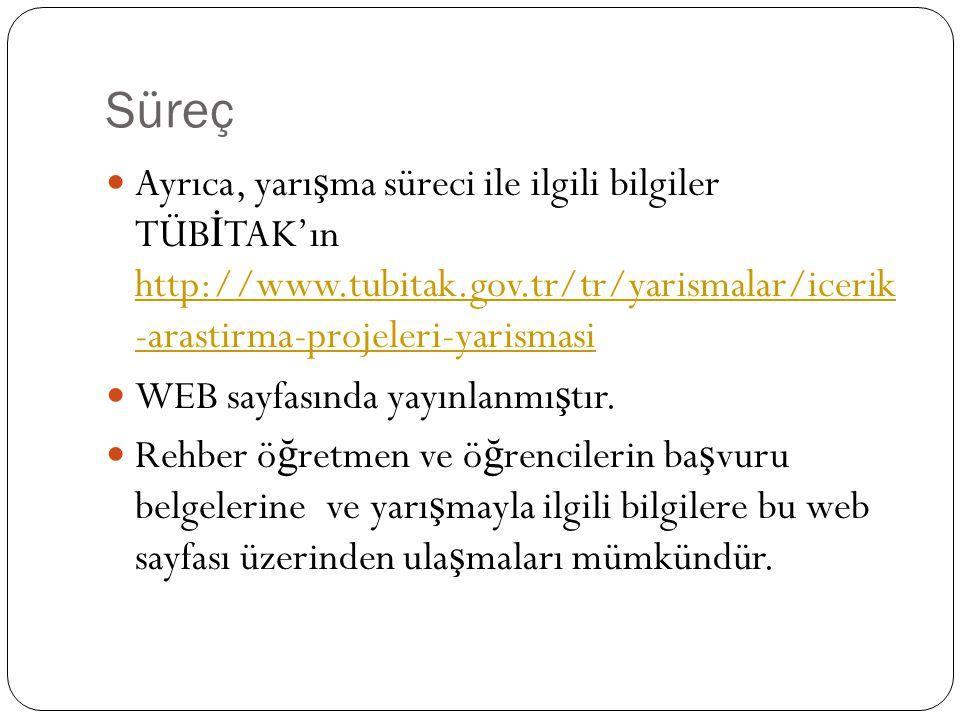 Süreç Ayrıca, yarı ş ma süreci ile ilgili bilgiler TÜB İ TAK'ın http://www.tubitak.gov.tr/tr/yarismalar/icerik -arastirma-projeleri-yarismasi http://w