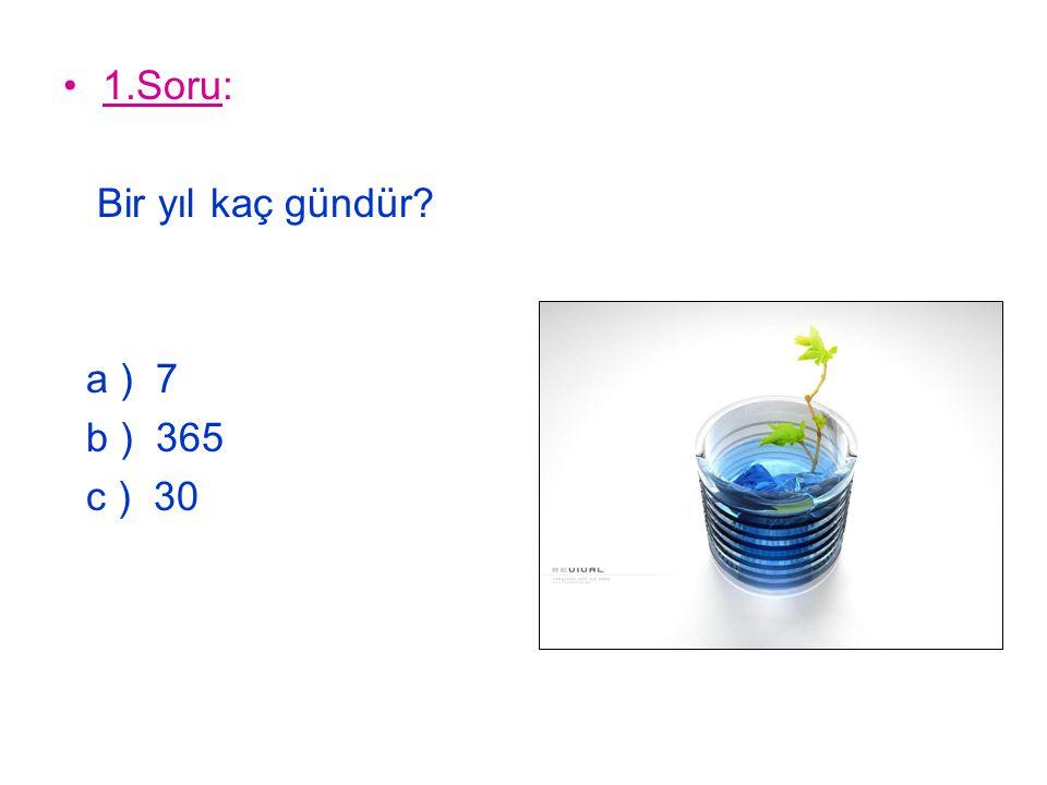 1.Soru: Bir yıl kaç gündür? a ) 7 b ) 365 c ) 30