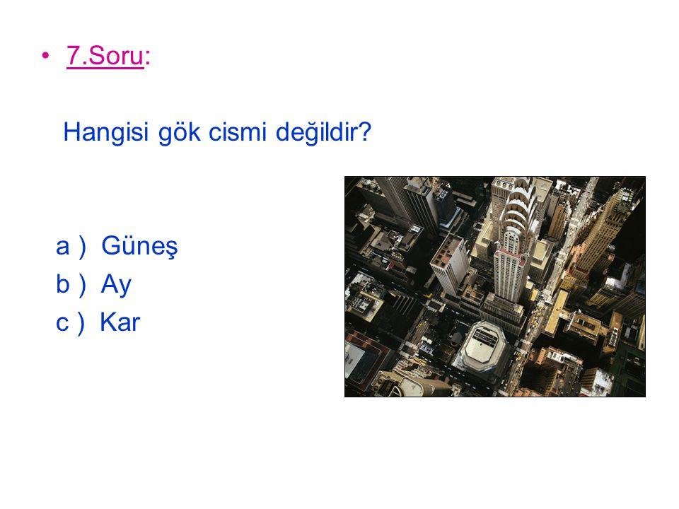 8.Soru: Cumhuriyet Bayramı ne zaman kutlanır? a ) 29 Ekim b ) 30 Ağustos c ) 23 Nisan