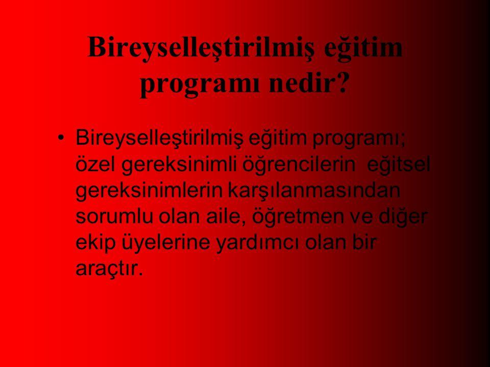 Bireyselleştirilmiş eğitim programı nedir.