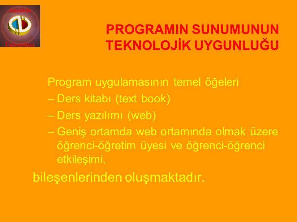 Anadolu Üniversitesi PROGRAMIN SUNUMUNUN TEKNOLOJİK UYGUNLUĞU Program uygulamasının temel öğeleri –Ders kitabı (text book) –Ders yazılımı (web) –Geniş