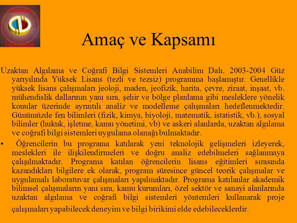 Anadolu Üniversitesi Amaç ve Kapsamı Uzaktan Algılama ve Coğrafi Bilgi Sistemleri Anabilim Dalı, 2003-2004 Güz yarıyılında Yüksek Lisans (tezli ve tez
