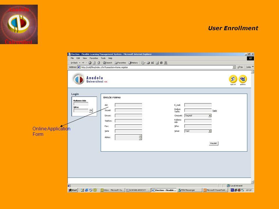 Anadolu Üniversitesi Online Application Form User Enrollment
