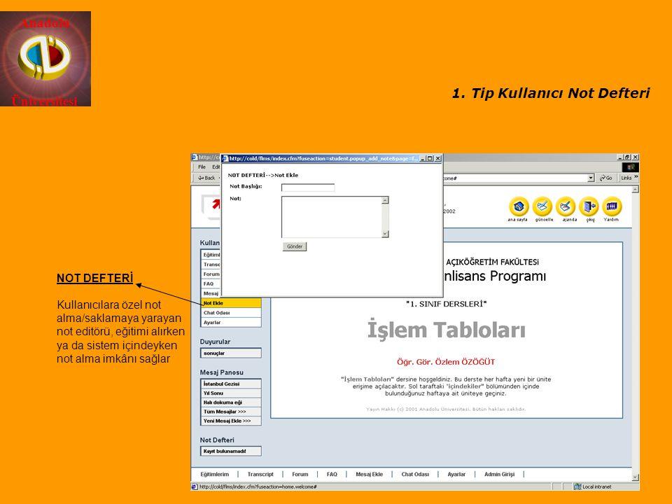 Anadolu Üniversitesi NOT DEFTERİ Kullanıcılara özel not alma/saklamaya yarayan not editörü, eğitimi alırken ya da sistem içindeyken not alma imkânı sa