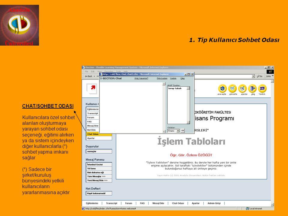 Anadolu Üniversitesi CHAT/SOHBET ODASI Kullanıcılara özel sohbet alanları oluşturmaya yarayan sohbet odası seçeneği, eğitimi alırken ya da sistem için