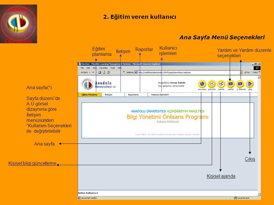 """Anadolu Üniversitesi Eğitim planlama İletişim Raporlar Kullanıcı işlemleri Ana sayfa(*) Sayfa düzeni""""de A.Ü görsel dizaynına göre İletişim menüsünden"""