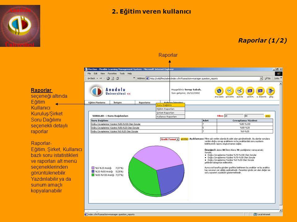 Anadolu Üniversitesi Raporlar (1/2) Raporlar Raporlar seçeneği altında Eğitim Kullanıcı Kuruluş/Şirket Soru Dağılımı seçenekli detaylı raporlar Raporl