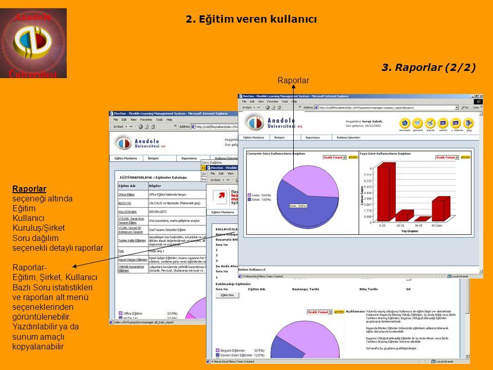 Anadolu Üniversitesi Raporlar Raporlar seçeneği altında Eğitim Kullanıcı Kuruluş/Şirket Soru dağılım seçenekli detaylı raporlar Raporlar- Eğitim, Şirk