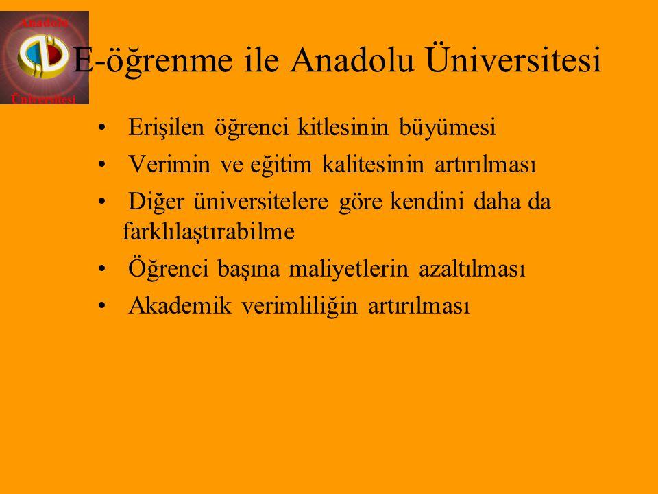 Anadolu Üniversitesi E-öğrenme ile Anadolu Üniversitesi Erişilen öğrenci kitlesinin büyümesi Verimin ve eğitim kalitesinin artırılması Diğer üniversit