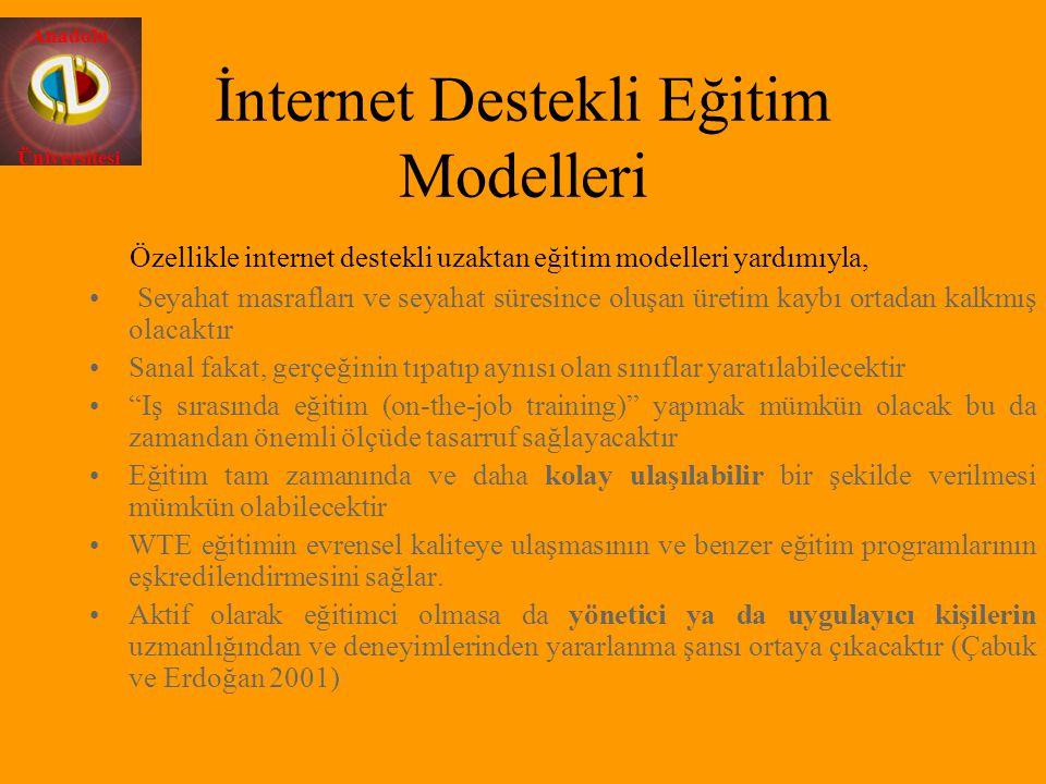 Anadolu Üniversitesi İnternet Destekli Eğitim Modelleri Özellikle internet destekli uzaktan eğitim modelleri yardımıyla, Seyahat masrafları ve seyahat