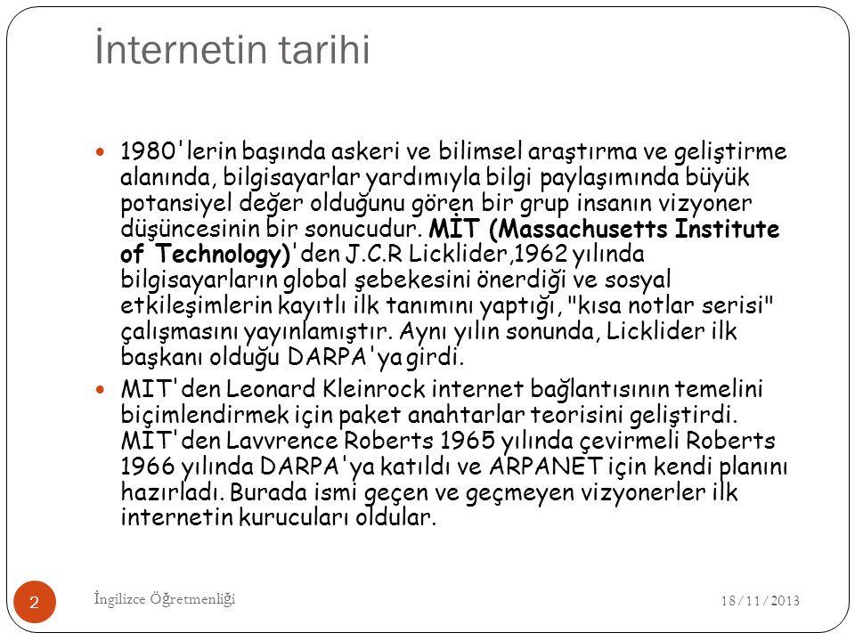 İnternetin tarihi 18/11/2013 İ ngilizce Ö ğ retmenli ğ i 2 1980'lerin başında askeri ve bilimsel araştırma ve geliştirme alanında, bilgisayarlar yardı