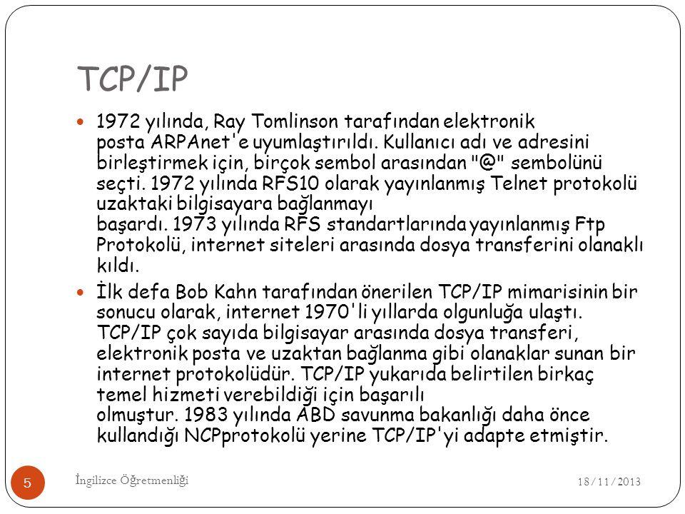 TCP/IP 18/11/2013 İ ngilizce Ö ğ retmenli ğ i 5 1972 yılında, Ray Tomlinson tarafından elektronik posta ARPAnet e uyumlaştırıldı.