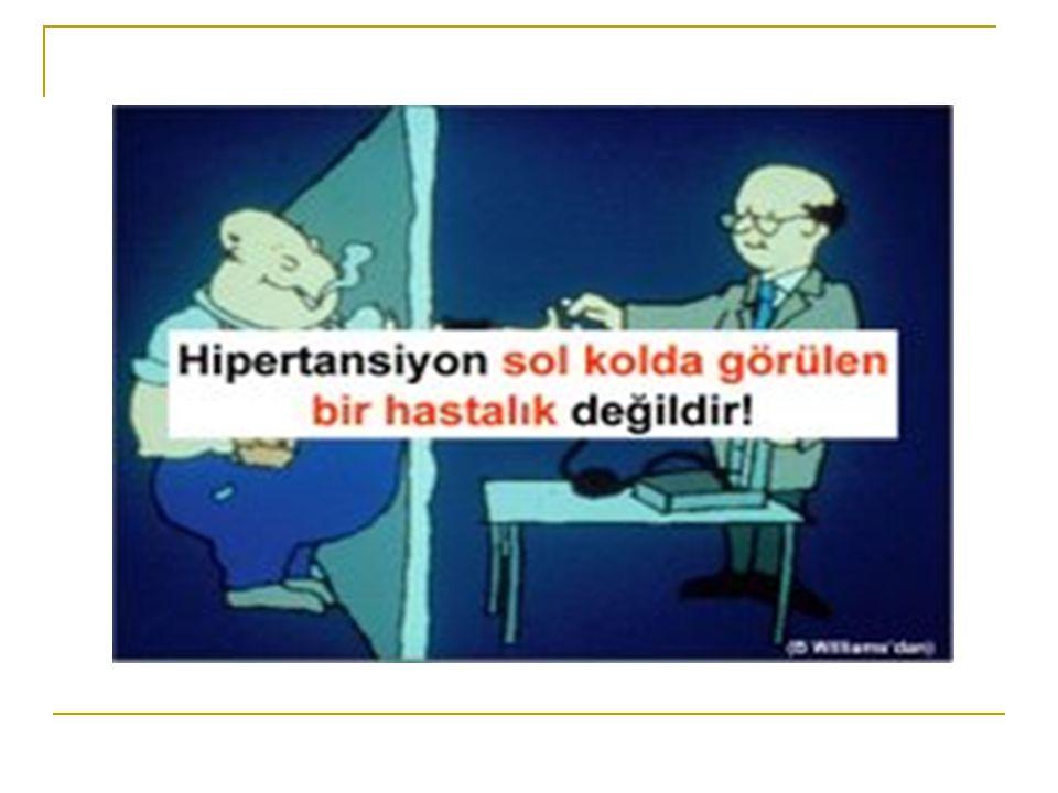 KAYNAKLAR T.C.Sağlık Bakanlığı Türk HT ve Böbrek Hastalıkları Derneği Türk Kardiyoloji Derneği Ulusal Hipertansiyon Tedavi ve Takip Kılavuzu Türkiye'nin Hastalık Yükü Çalışması, 2004 Güncel İç Hastalıkları Dergisi Sayı:1 Yıl: 2009