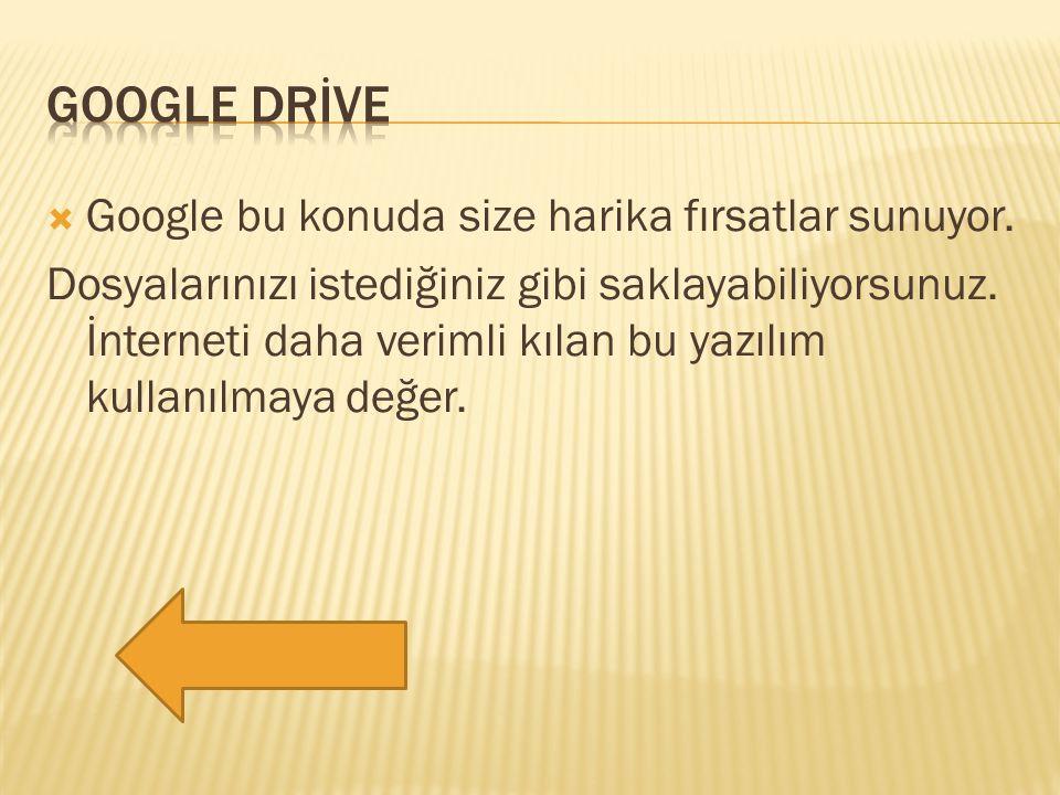  Google bu konuda size harika fırsatlar sunuyor. Dosyalarınızı istediğiniz gibi saklayabiliyorsunuz. İnterneti daha verimli kılan bu yazılım kullanıl