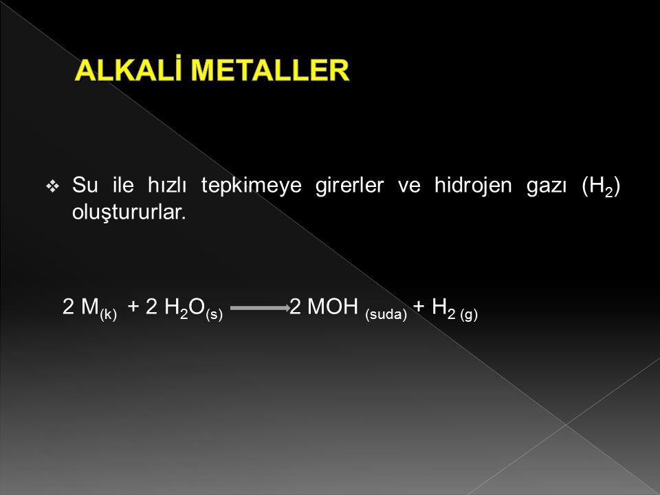  Su ile hızlı tepkimeye girerler ve hidrojen gazı (H 2 ) oluştururlar. 2 M (k) + 2 H 2 O (s) 2 MOH (suda) + H 2 (g)