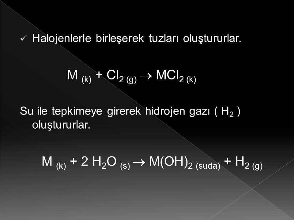 Halojenlerle birleşerek tuzları oluştururlar. M (k) + Cl 2 (g)  MCl 2 (k) Su ile tepkimeye girerek hidrojen gazı ( H 2 ) oluştururlar. M (k) + 2 H 2
