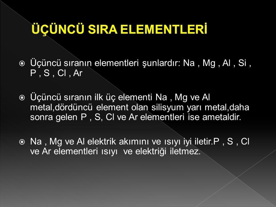  Üçüncü sıranın elementleri şunlardır: Na, Mg, Al, Si, P, S, Cl, Ar  Üçüncü sıranın ilk üç elementi Na, Mg ve Al metal,dördüncü element olan silisyu