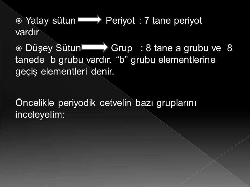 " Yatay sütun Periyot : 7 tane periyot vardır  Düşey Sütun Grup : 8 tane a grubu ve 8 tanede b grubu vardır. ""b"" grubu elementlerine geçiş elementler"