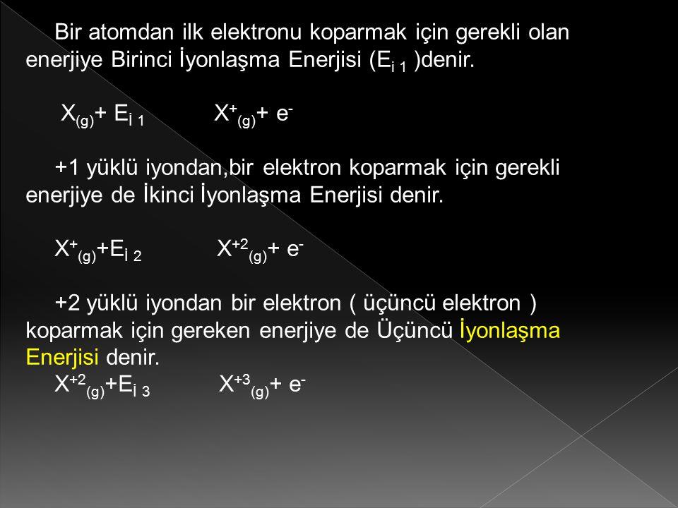 Bir atomdan ilk elektronu koparmak için gerekli olan enerjiye Birinci İyonlaşma Enerjisi (E i 1 )denir. X (g) + E İ 1 X + (g) + e - +1 yüklü iyondan,b
