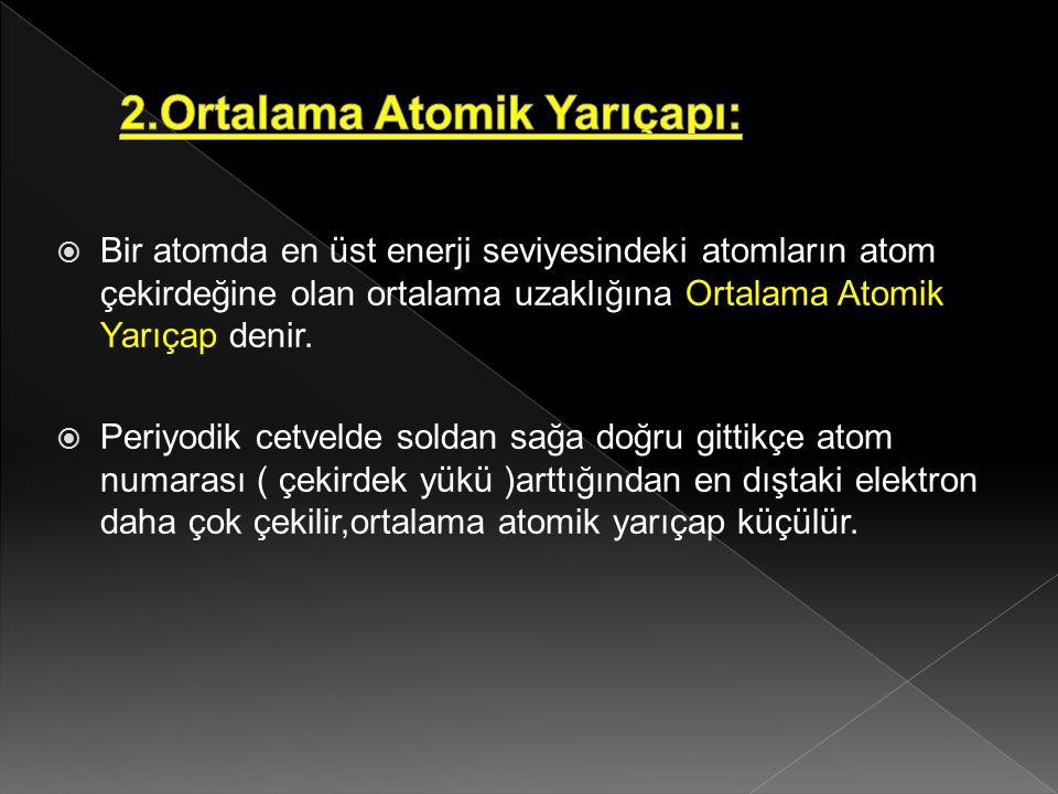  Bir atomda en üst enerji seviyesindeki atomların atom çekirdeğine olan ortalama uzaklığına Ortalama Atomik Yarıçap denir.  Periyodik cetvelde solda