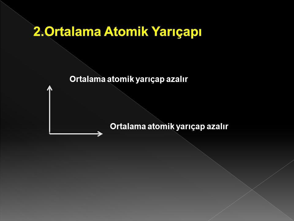 Ortalama atomik yarıçap azalır