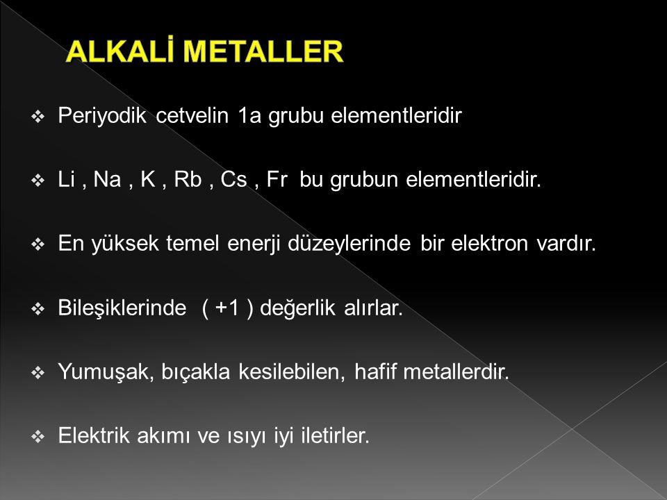  Periyodik cetvelin 1a grubu elementleridir  Li, Na, K, Rb, Cs, Fr bu grubun elementleridir.  En yüksek temel enerji düzeylerinde bir elektron vard