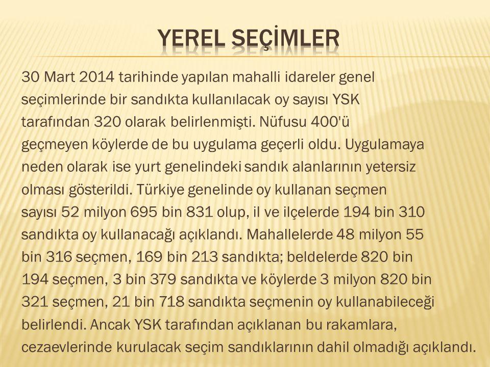 30 Mart 2014 tarihinde yapılan mahalli idareler genel seçimlerinde bir sandıkta kullanılacak oy sayısı YSK tarafından 320 olarak belirlenmişti. Nüfusu