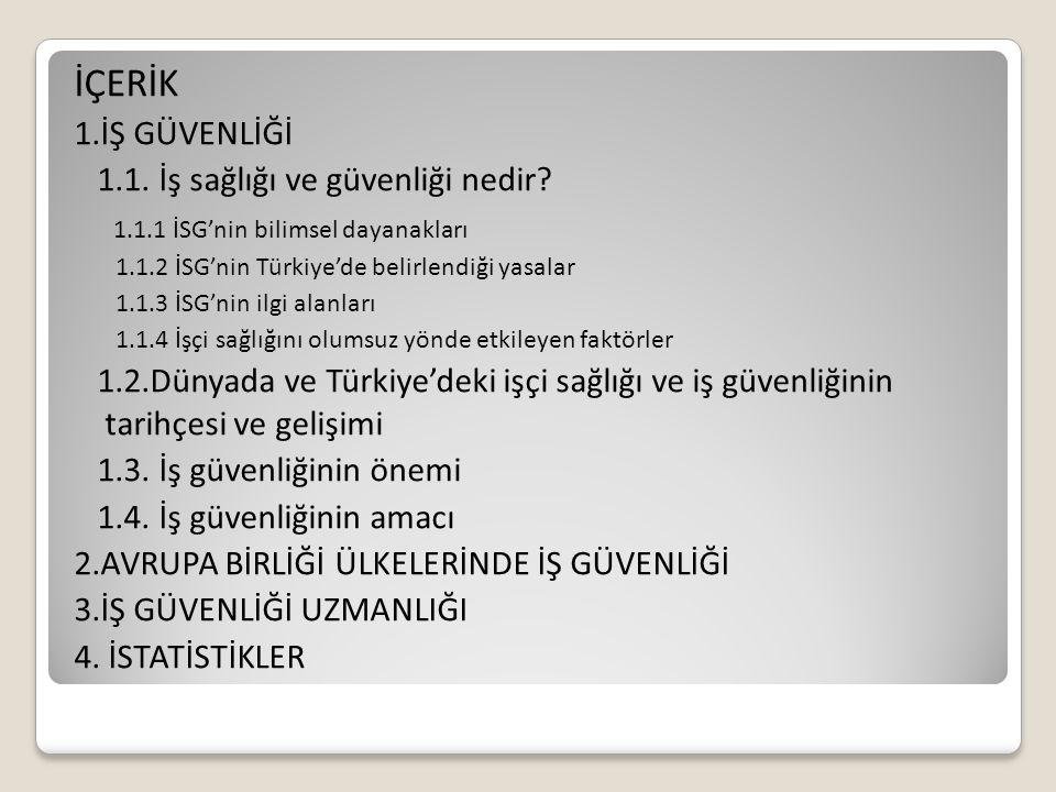 İÇERİK 1.İŞ GÜVENLİĞİ 1.1. İş sağlığı ve güvenliği nedir? 1.1.1 İSG'nin bilimsel dayanakları 1.1.2 İSG'nin Türkiye'de belirlendiği yasalar 1.1.3 İSG'n