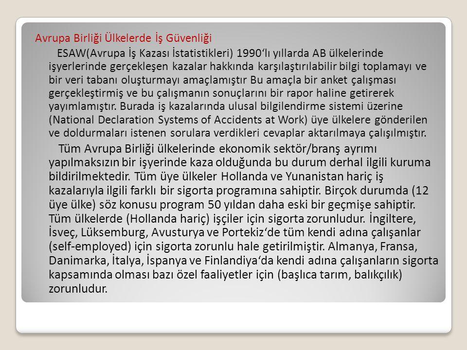 Avrupa Birliği Ülkelerde İş Güvenliği ESAW(Avrupa İş Kazası İstatistikleri) 1990'lı yıllarda AB ülkelerinde işyerlerinde gerçekleşen kazalar hakkında
